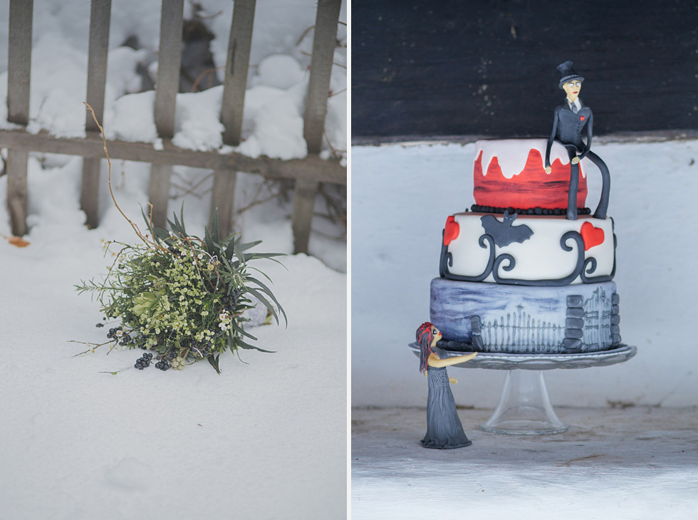 winter wonderland wedding on snow