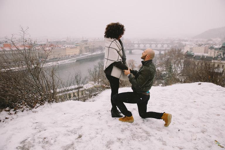 snowy surprise proposal prague